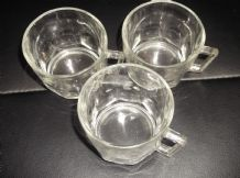 "3 X ARCOROC RETRO GLASS TEA FRENCH COFFEE CUPS 2.75"" HIGH GREAT CONDITION"